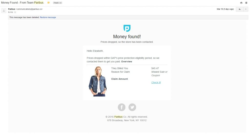 Save Money: Initial Money Back Email from Paribus