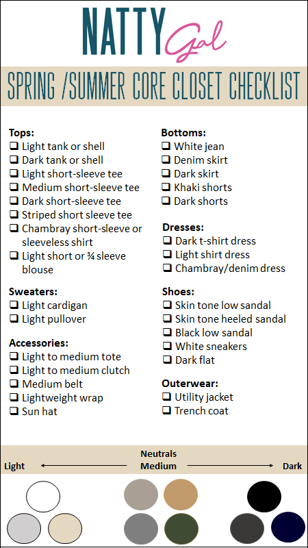 Spring/Summer Core Closet Checklist | Wardrobe Essentials for Spring | Wardrobe Basics for Spring | Wardrobe Essentials for Summer | Wardrobe Basics for Summer