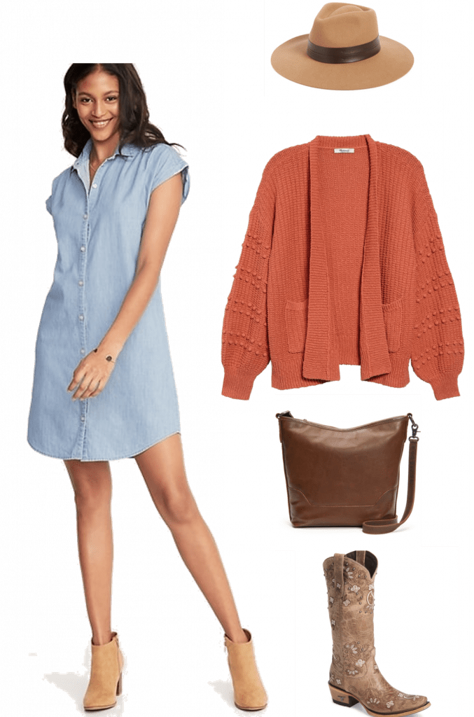 Transitional Fall Outfit | OOTD | How to Style a Chambray Dress for Fall