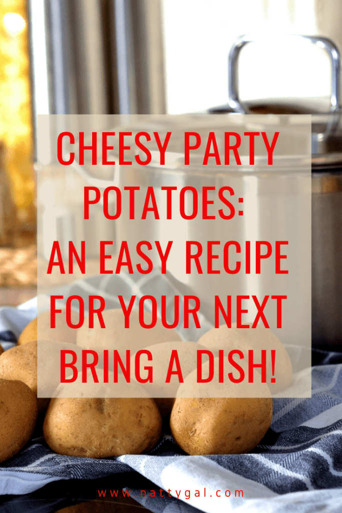 Looking for an easy, crowd-pleasing, do-ahead dish to bring to a party?  Look no further than these Cheesy Party Potatoes! #easyrecipes #holidaydishes #easypotatoes #cheesypotatoes #potluck