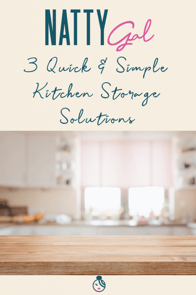 Take control of your kitchen with these three quick & simple storage solutions that will help take you from cluttered mess to organized success! #kitchenstorage #homeorganization