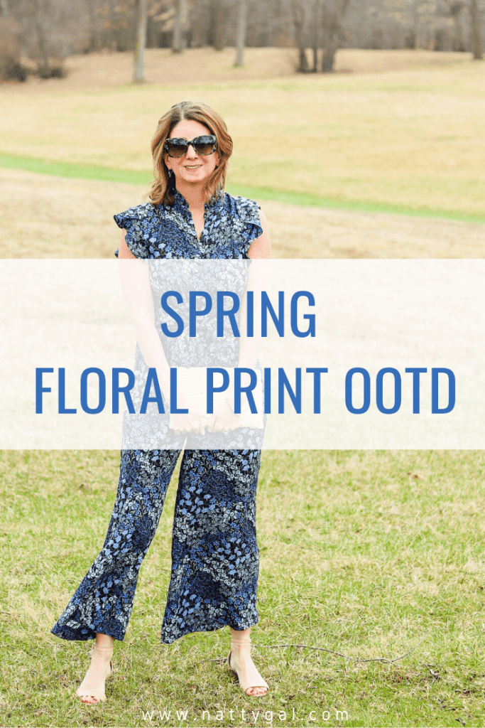 Today I'm sharing a spring floral print OOTD, perfect for Easter, spring weddings or showers and more. #thinkspring #floralprint #ootd #easteroutfit #springweddingoutfit